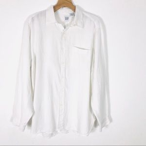 Like new Gap Mens 100% linen shirt white XL